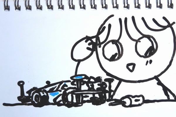 小学3年生のSiSO-Jr.1、ミニ四駆にMAシャーシ ファーストトライパーツセットの組み付けで苦戦