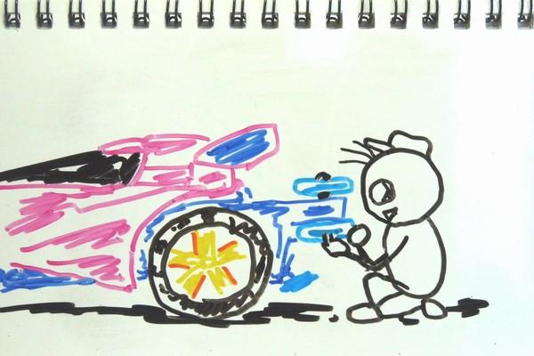 どノマールで楽しむミニ四駆、MAシャーシのリヤープラローラーの取り付け方変えて1%タイム向上?