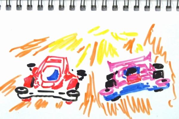 無改造どノーマルミニ四駆はどれくらい速いかな?中径ホイールと大径ホイールを実際にコースを走らせて検証。