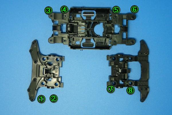 TOYz BAR☆ミニ四駆・MSシャーシのノーマルと軽量で結合部の太さがちょっと違う。
