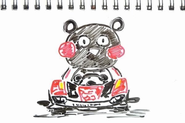 くまモン人形、組み立て・塗装ずみ!クリアボディのライキリ、「がんばれ!熊本 ミニ四駆 (くまモン版)」、SiSO-Jr.1購入。