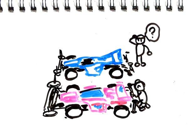 ミニ四駆のフロントローラー回り検討中。ロングノーズなセッティングを目指して迷走中。