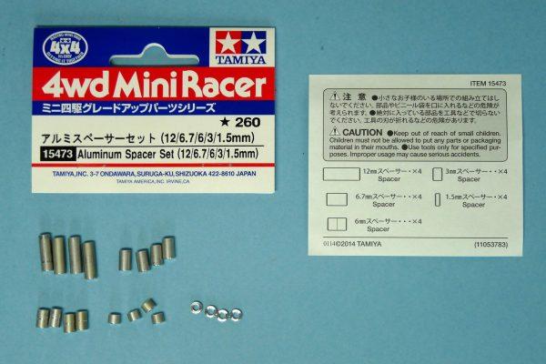 TOYz BAR☆ミニ四駆・15473 アルミスペーサーセット (12/6.7/6/3/1.5mm)/ミニ四駆グレードアップパーツ