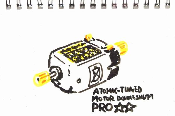 カーボンブラシ採用ミニ四駆用モーター、アトミックチューンモーターPROを低電圧ブレークイン。