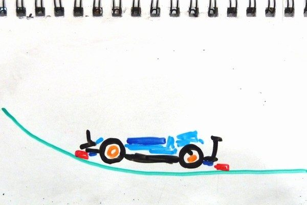 TOYz BAR☆ミニ四駆・ブレーキ効能セッティング妄想中。前後ブレーキを低くしすぎると宙に浮く。
