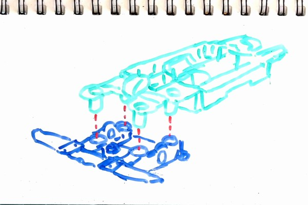 MSシャーシのミニ四駆、リヤユニットを上下可動できるよう簡単に改造はできないかな?(前編)