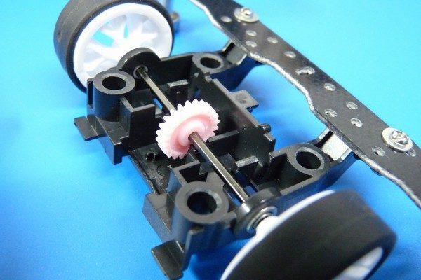 TOYz BAR☆ミニ四駆MSシャーシのリヤユニットが上下可動できるように加工。リヤユニット。テーパー状に加工。