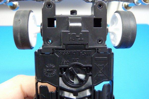 TOYz BAR☆ミニ四駆MSシャーシのリヤユニットが上下可動できるように加工。リヤユニットT型形状。