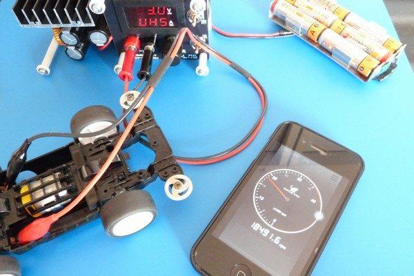 TOYz BAR☆ミニ四駆 ライトダッシュモーターPROを9V高電圧ブレークイン。回転数測定中。