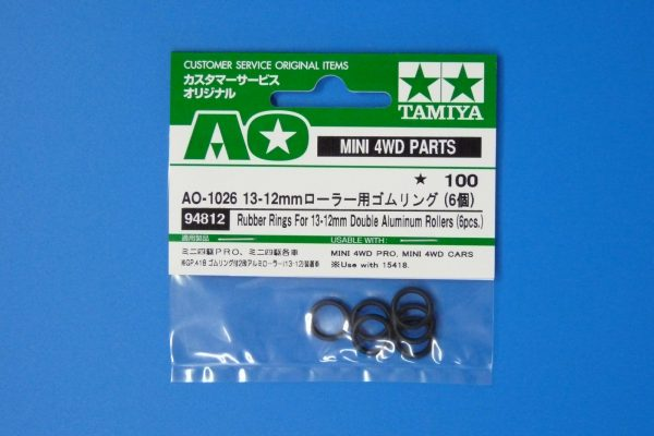 TOYz BAR☆ミニ四駆GUP 94812 AO-1026 13 - 12mmローラー用ゴムリング (6個)。パッケージ表側写真。