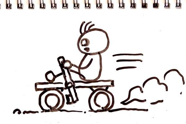 ミニ四駆・重妄想中。タイヤをレバー式ブレーキで押さえて減速ってどうかな。