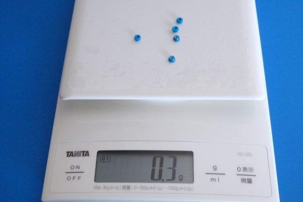 TOYz BAR☆ミニ四駆GUP 15500 2mmアルミロックナット(ブルー5個)。重量測定。