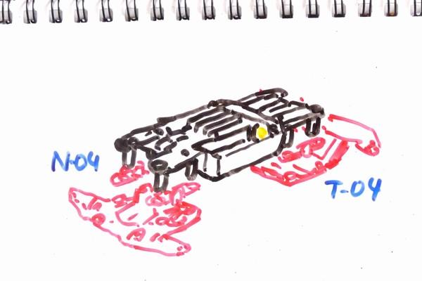 MSシャーシのホイール軸受けに520ボールベアリング。N-04・T-04 強化ユニットを使えば取り付け可能。