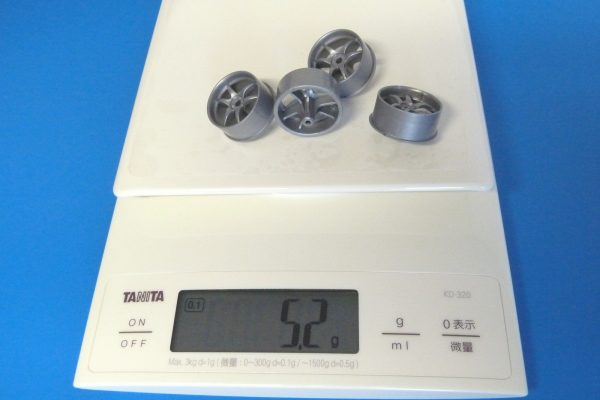 TOYz BAR☆ミニ四駆GUP 15491 大径Vスポーク ナローホイール(バレルタイヤ付)。ホイール重量測定。
