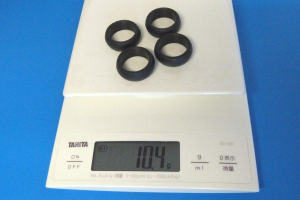 TOYz BAR☆ミニ四駆GUP 15491 大径Vスポーク ナローホイール(バレルタイヤ付)。バレルタイヤ重量測定。