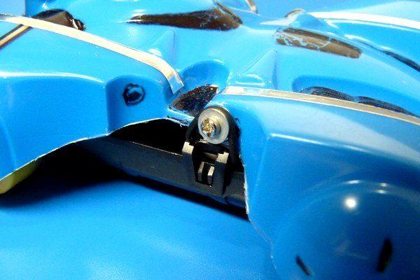 TOYz BAR☆ミニ四駆、バックブレーダーをMSシャーシにゴムリングで取り付け。