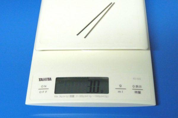 TOYz BAR☆ミニ四駆・15297 72mm中空ステンレスシャフト。比較用にノーマルシャフトの重量測定。