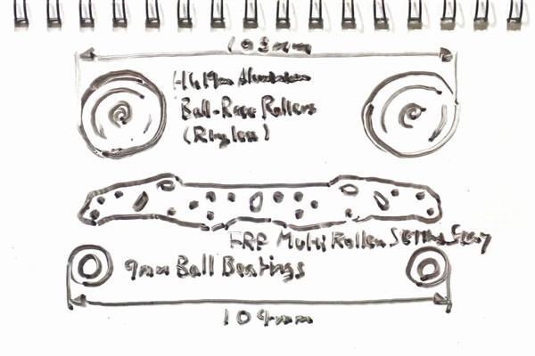 ミニ四駆FRPステー(プレート)とローラーの組み合わせによる車幅を検討。なんで19mmローラーだけ狭いのかな?