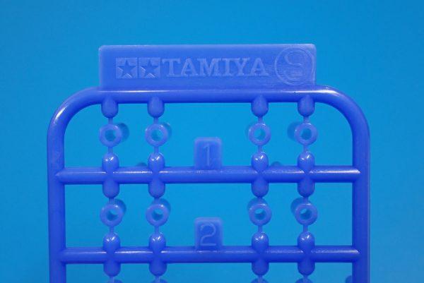TOYz BAR☆ミニ四駆GUP 95368 軽量プラスペーサーセット (12/6.7/6/3/1.5mm) (ブルー)。TAMIYAロゴ刻印。