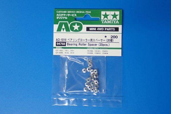 TOYz BAR☆ミニ四駆GUP  94768 AO-1018 ベアリングローラー用スペーサー (20個)。パッケージ表側写真。