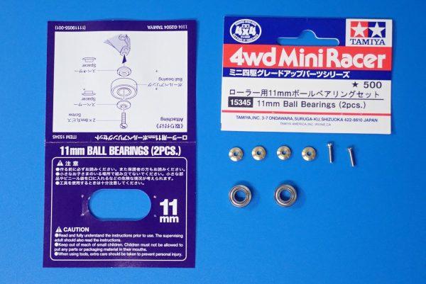 TOYz BAR☆ミニ四駆GUP 15345 ローラー用11mmボールベアリングセット。内容一覧写真。