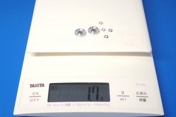 TOYz BAR☆ミニ四駆GUP 15437 13mm オールアルミベアリングローラー。重さ測定。