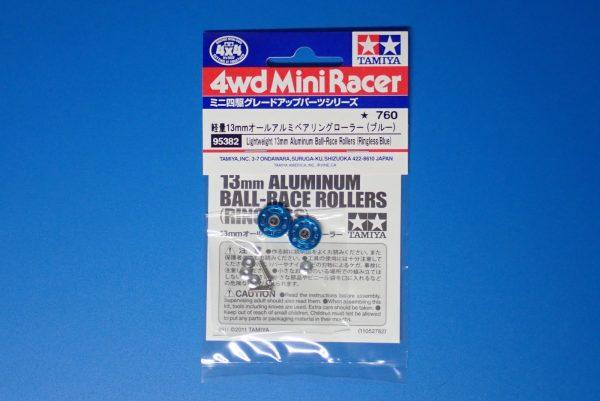 TOYz BAR☆ミニ四駆GUP 95382 軽量13mmオールアルミベアリングローラー(ブルー)。パッケージ写真。