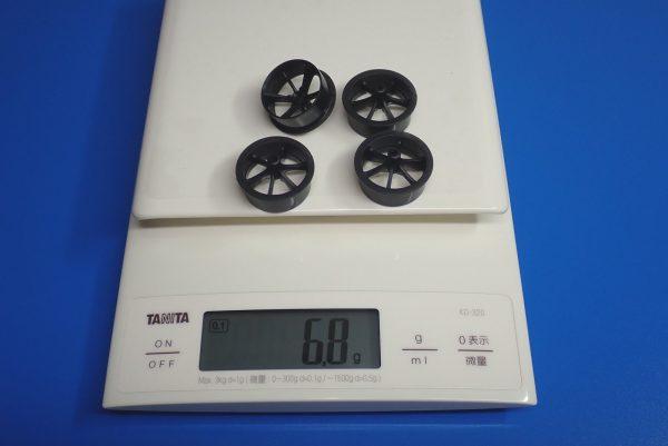 Yz BAR☆ミニ四駆GUP 95371 ハード大径ローハイトタイヤ&カーボン強化6本スポークホイール。ホイール重量測定。