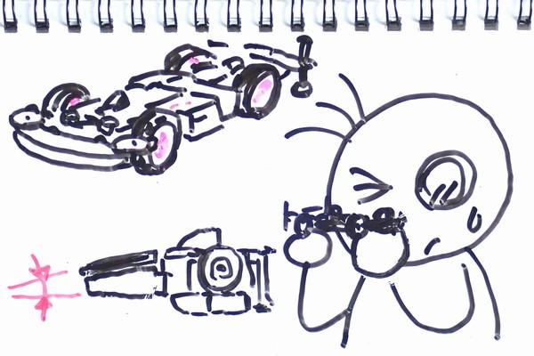 ミニ四駆のフロントローラー・スラスト角を手軽に調整して浅くする方法を考えてみる(MSシャーシ編)。
