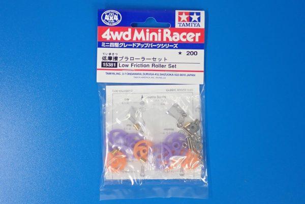 TOYz BAR☆15381 低摩擦プラローラーセット/ミニ四駆グレードアップパーツ。パッケージ表側写真。